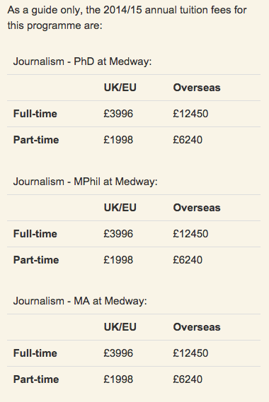 journalism fees